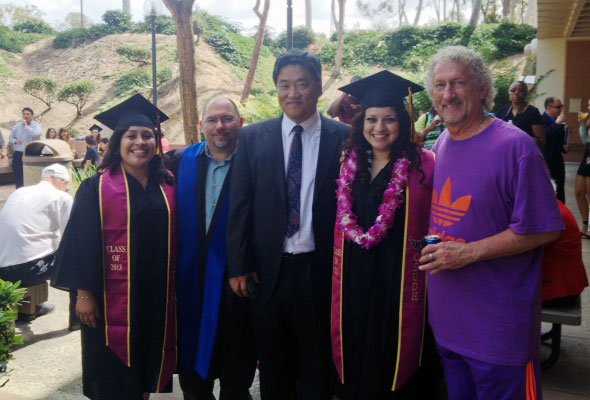 Biology Graduates on Graduation Day: Karen Valle & Maureen Flores along with biology faculty – HK Choi, Terry McGlynn